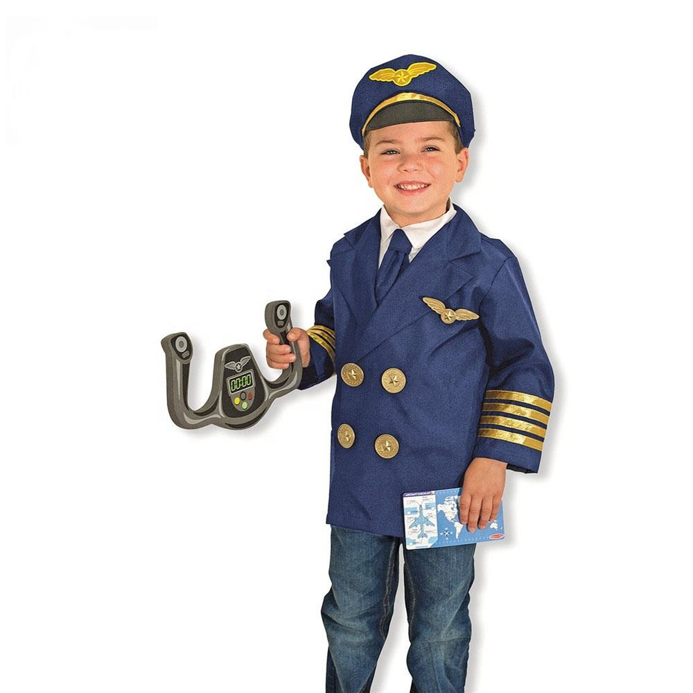 Carnival Anime Cosplay Career Kids Pilot Costume Aviator Party Halloween Children Airman Airline Pilot Uniform Boys Costume