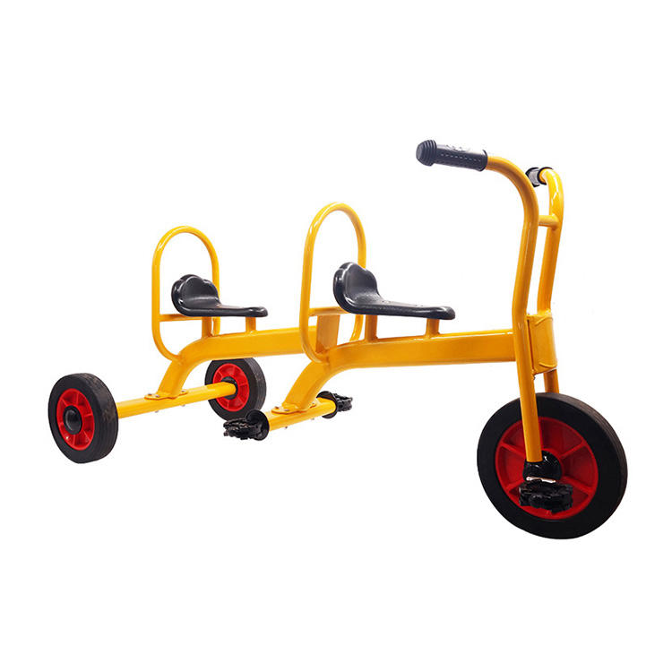 Outdoor Kids Double seat 3 wheels pedal bike can be manned tricycle