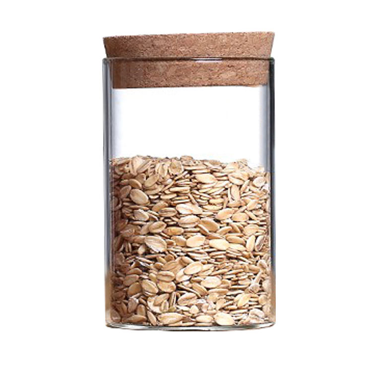 OEM Suppliers Heat Resistant Borosilicate Glass jars with Cork Lid for Kitchen Kitchen Organization