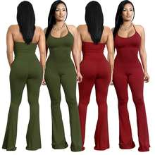 European and American women's foreign trade halter four color bell bottom jumpsuit