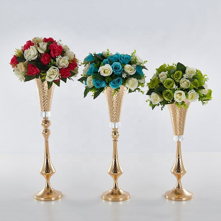 Plating long horn vases flower wedding decoration