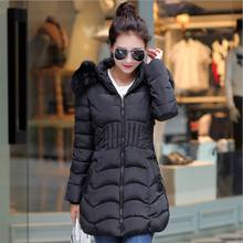Ecoparty  Women Coats Plus Size Fashion Winter Long Down Jacket Warm Cotton Slim Zip Coat with Fur Hood Outwear(L-4XL)