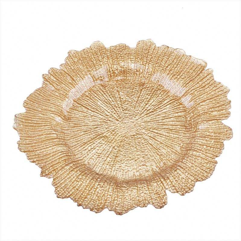 High quality Newest Elegant Gold Reef Glass Wedding Charger Plates Wholesale