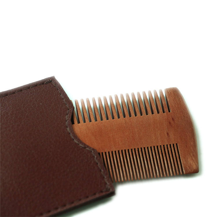 High quality double sided men green sandalwood beard comb