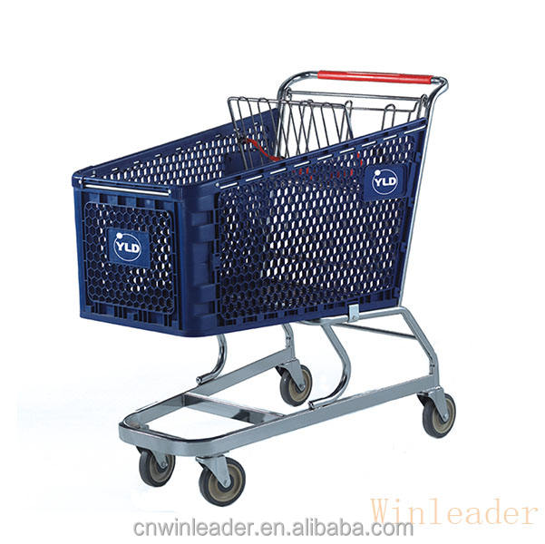 China factory hot sales plastic shopping cart with heavy plastic frame