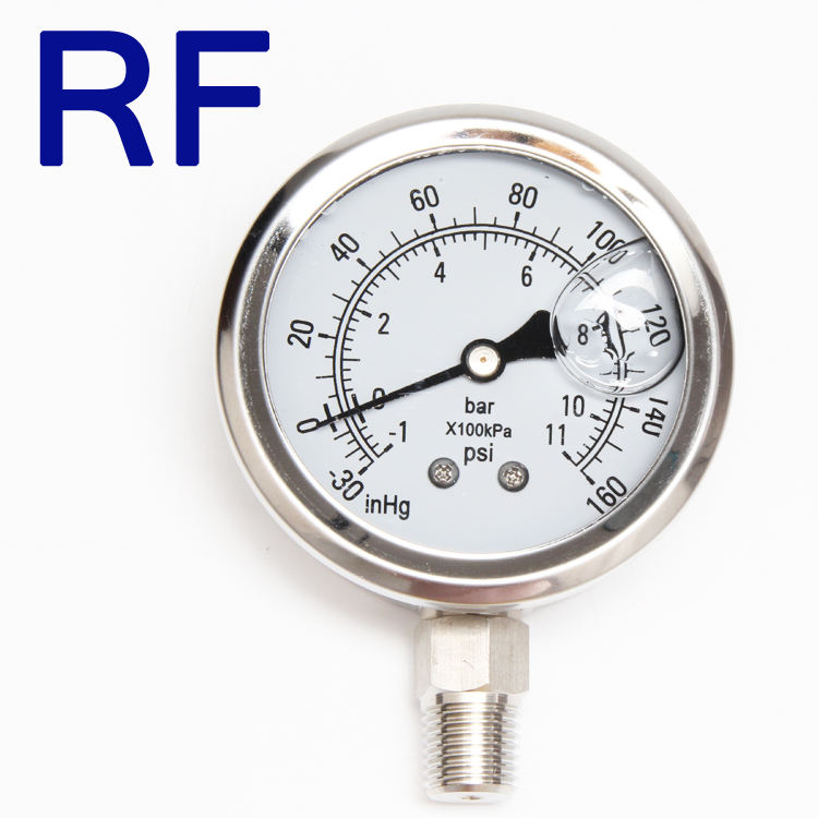 RF Stainless Steel 1/4 npt 160 psi DIgital Oil Filled Pressure Gauges