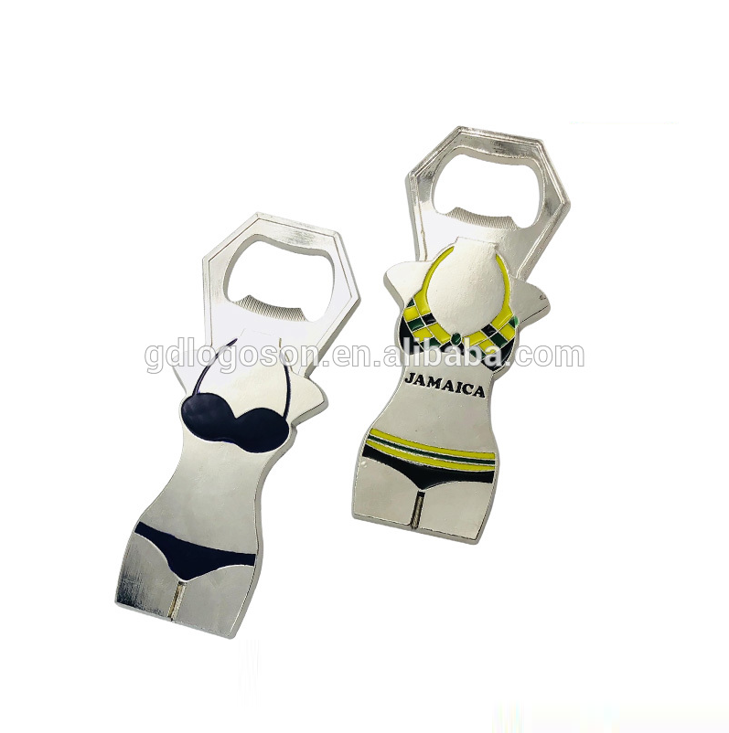 Custom Sexy Bottle Opener Bikini Souvenir Metallic Body Shaped Bra Bottle Opener
