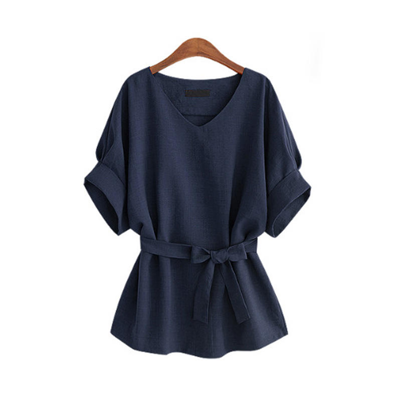 Women Linen Cotton Batwing Sleeve Bow tie Tunic Shirt V-Neck Loose Tops for Female Summer Autumn Woman's Blouse Plus Size