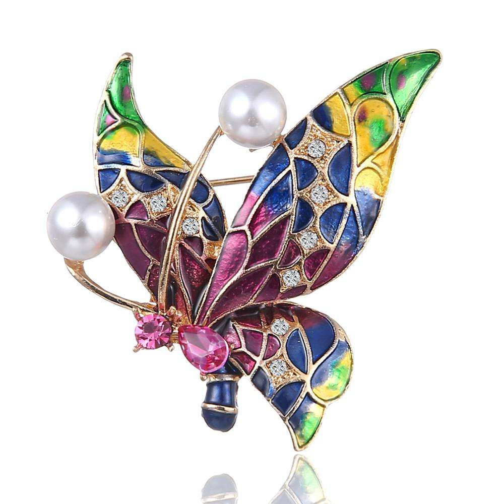 Customized Colorful Alloy Crystal Butterfly With Big Pearl Brooch for Women
