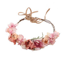Wedding Bridal Artificial Flower Crown Colorful Floral Headbands Hair Accessories