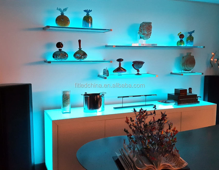 RF remote control RGB color wine cabinet LED shelf lights glass plate