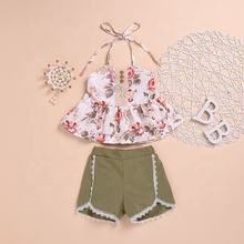 Summer cute cotton apparel lace kids clothing girl clothes set