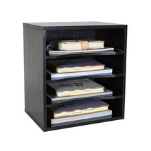 High Quality Countertop File Holder Office Supplies Wood Desk Organizer Black 4 Horizontal Wood Rack
