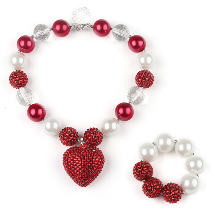 wholesale girls red chunky bubblegum necklace with bracelets