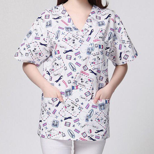 Medical Uniforms Printing Scrub Top