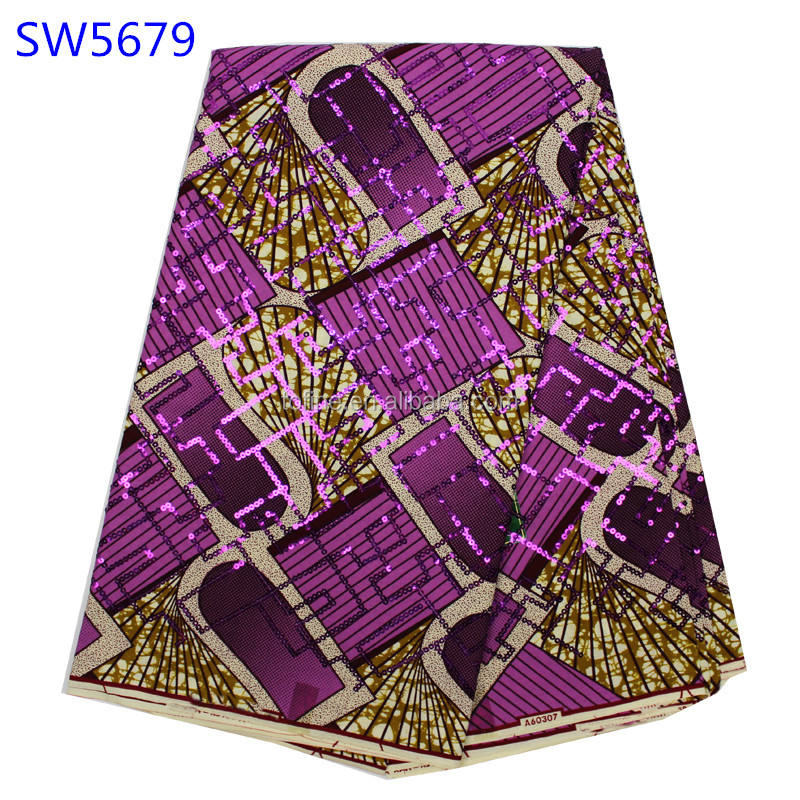 2016 latest wholesale wax print fabric african with sequins making dress high quality