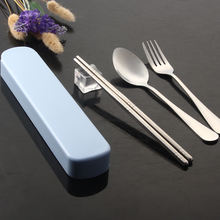 New Product 3 in 1 Reusable Portable Flatware Fork And Spoon Chopsticks Travel Cutlery Set With Case
