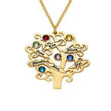 Custom Design Name Commemorate Gold Plated Family Tree Necklace with Birthstones