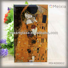 MX400002 kiss klimt master painting glass silk screen print on glass