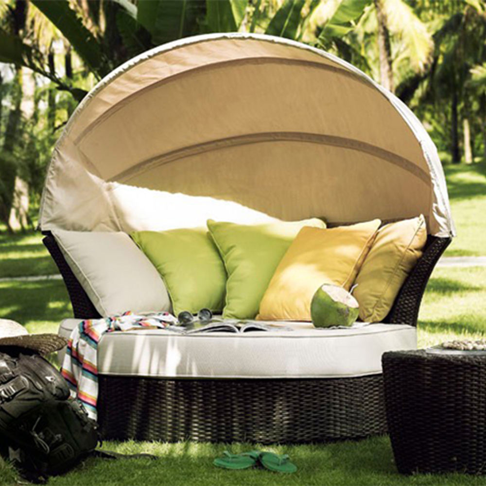 - Alle Wetter Wicker Pool Runde Rattan Outdoor Royal Daybed Mit