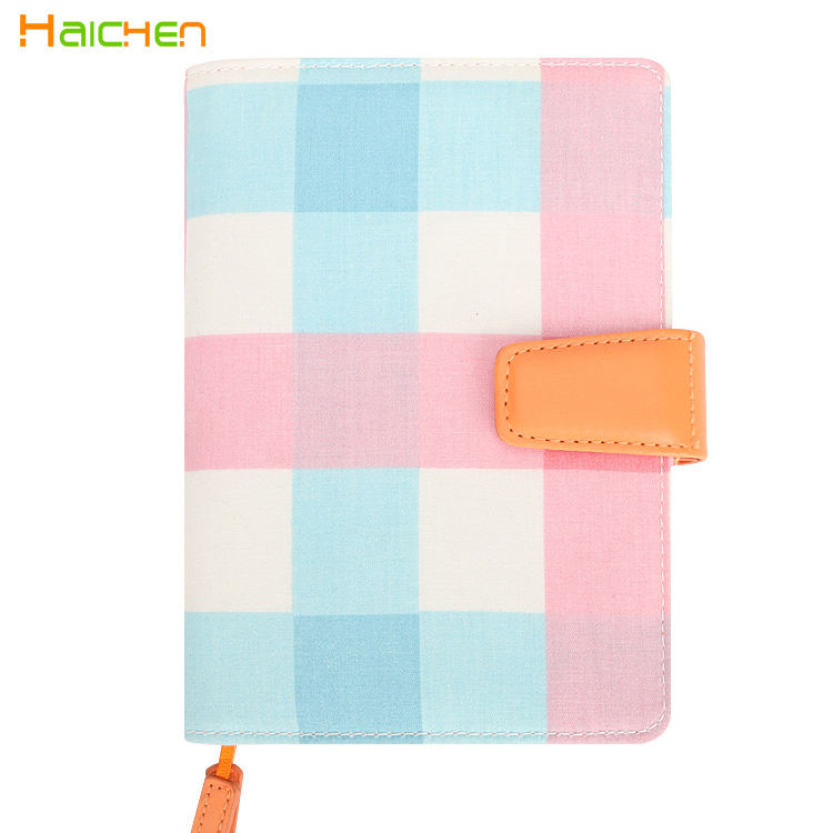 Fabric cover magnetic closure school notebook binder bound
