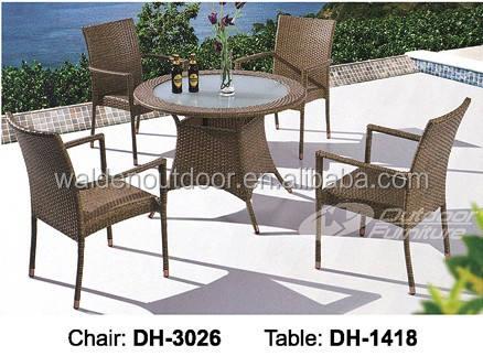 Fancy exterior <span class=keywords><strong>muebles</strong></span> de jardín de mimbre mesa de comedor redonda y silla establecen