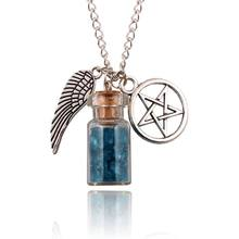 Glass salt vows angel wings pentagram retro talisman necklace pendant in Europe and America