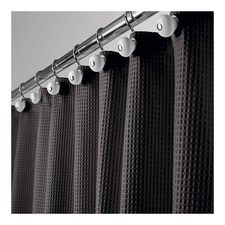 Polyester/Cotton Blend Fabric Shower Curtain Waffle Weave Rustproof Metal Grommets Bathroom Showers