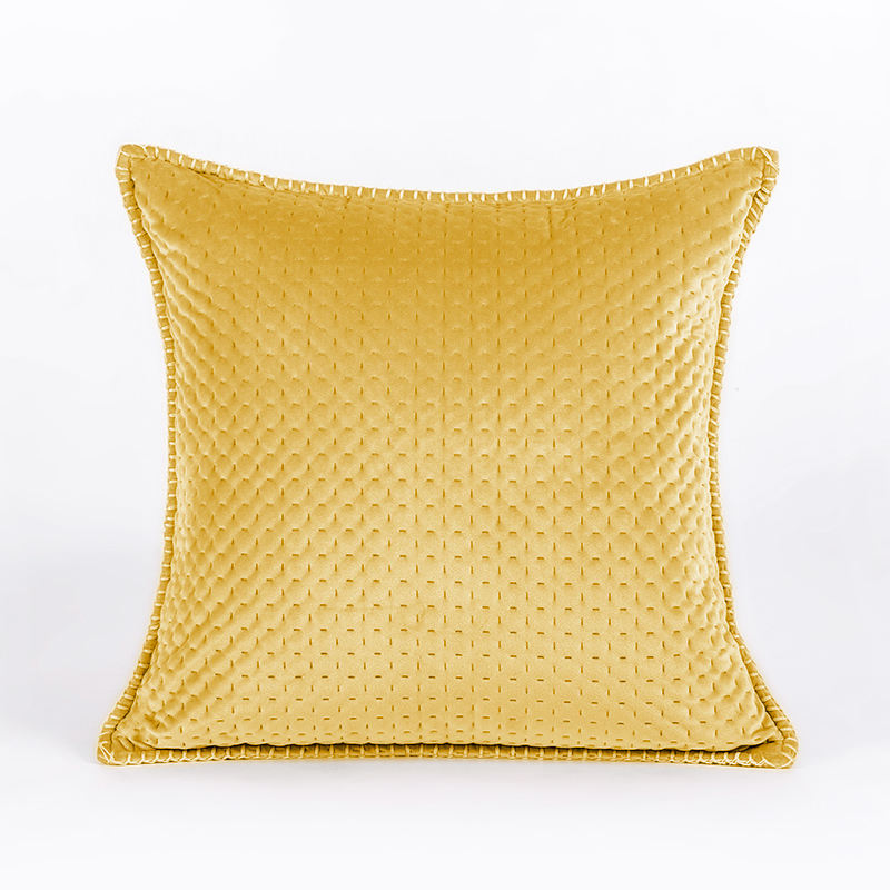 18*18 Inch Decorative Gold Yellow Velvet Pillow Oxford Edge Embossed Cushion Cover