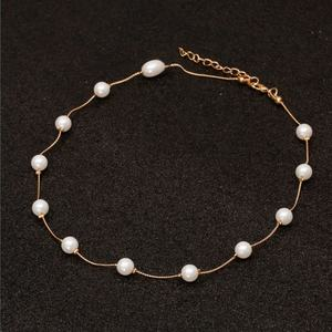 Wholesale mother of pearl necklace simulated faux pearl metal chain necklace