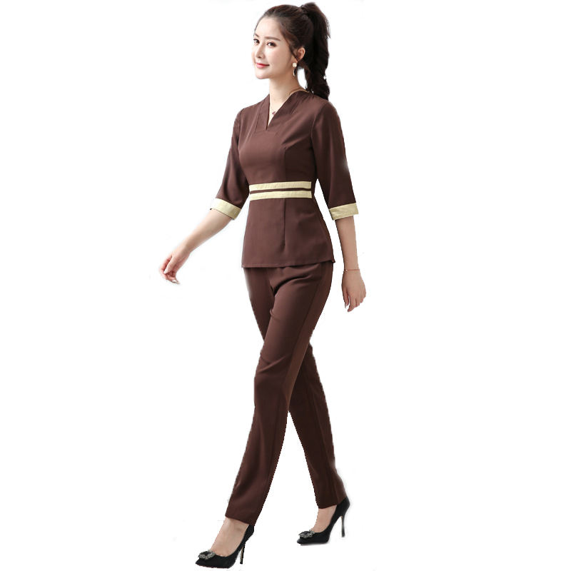 Newest uniform for SPA Beautiful Salon workwear Restaurant Hotel Uniform Breathable Fabric Bar Staff Work Uniform