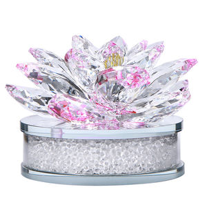Free Sample Sparkle Pink Crystal Lotus 꽃 Sculpture 대 한 홈 장식