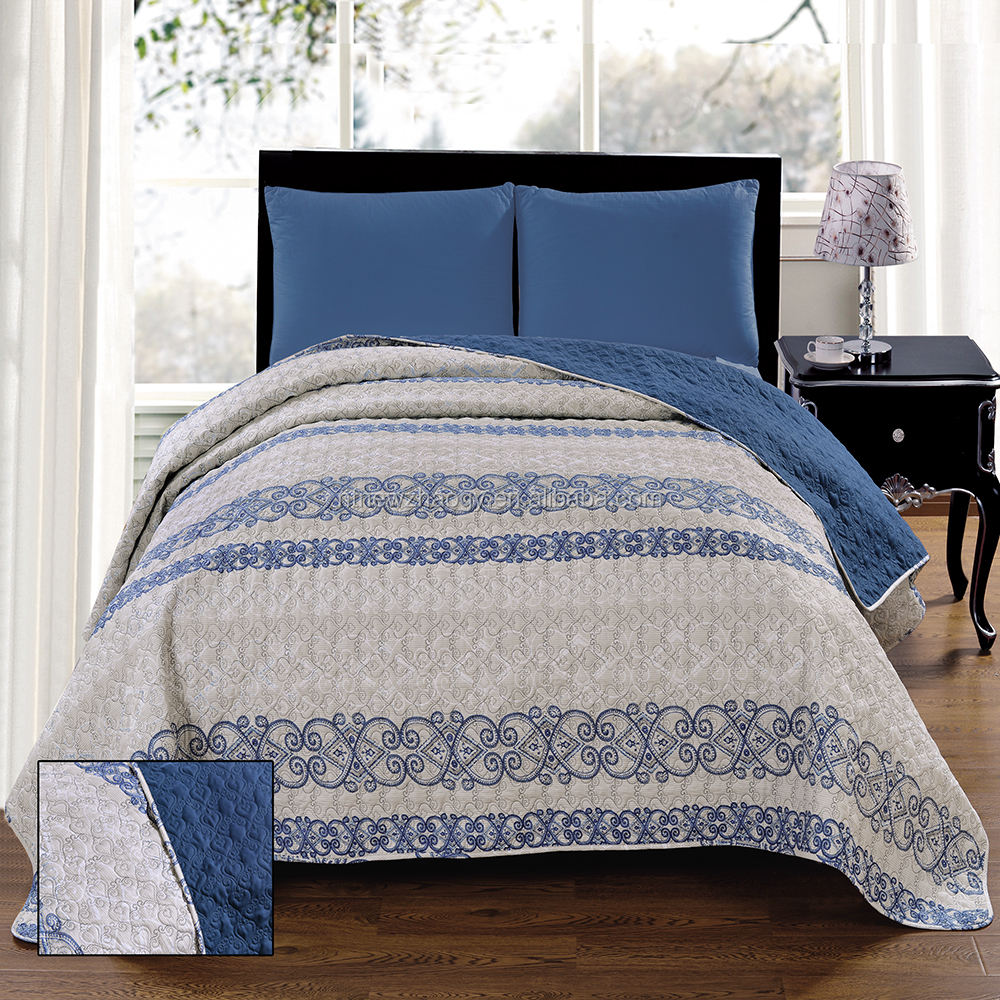 High quality classic printing cotton bedspread with polyester lining