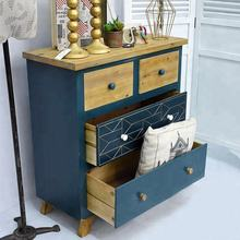 Vintage Blue Solid Wooden furniture Antique Style living room Cabinet