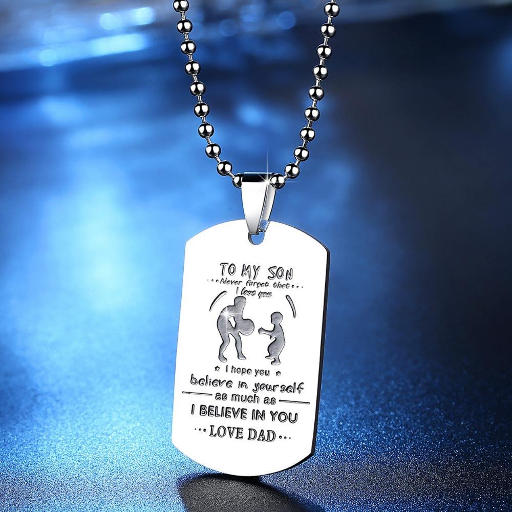 Father Son Jewelry Never Forget That I Love You Necklace Dog Tag Necklace To My Son Gift (Necklace)