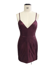 Women's wine red dress with v-neck halter