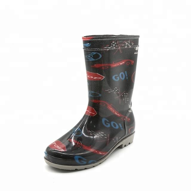 Cloth Injection Transparent Glitter Ankle High Martin Rain Boots