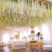 Artificial Wisteria Vine Ratta Hanging String Garland Silk Flowers  use for the wedding