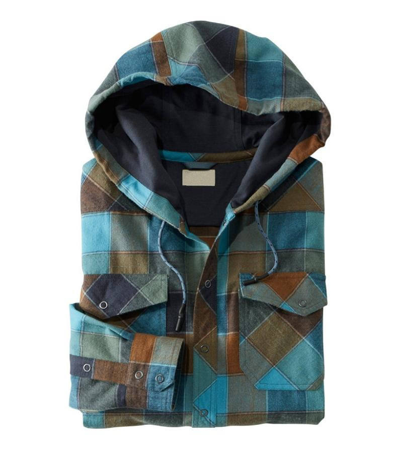 Top quality brushed two pocket hoodie flannel shirt