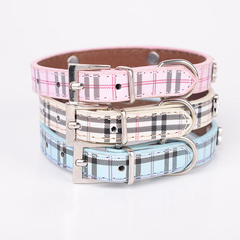 Classic Bling Collari Per Cani Pet Supplies Diy PU Scacchi Pet Dog Collar