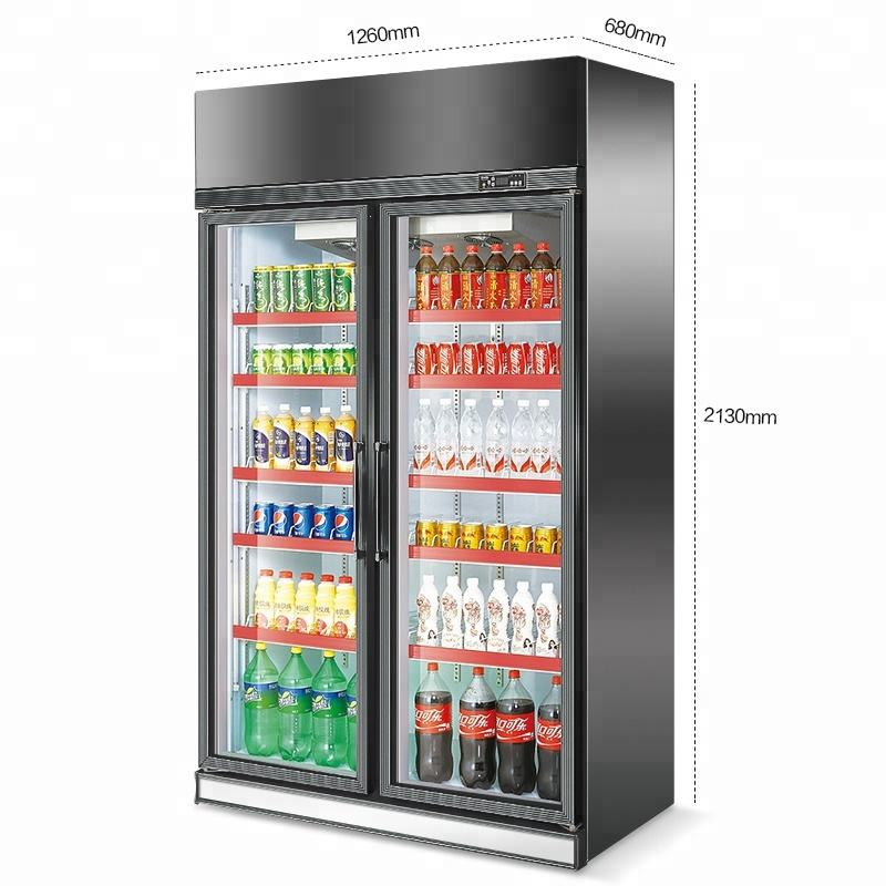 Upright Showcase Fridge Cooler of 2 door glass vertical freezer for soft drink beer pepsi cola