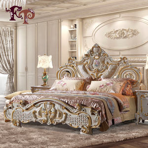 2019 popular Europe style rubber furniture, luxury classic upholstered solid wood carving genuine leather bed