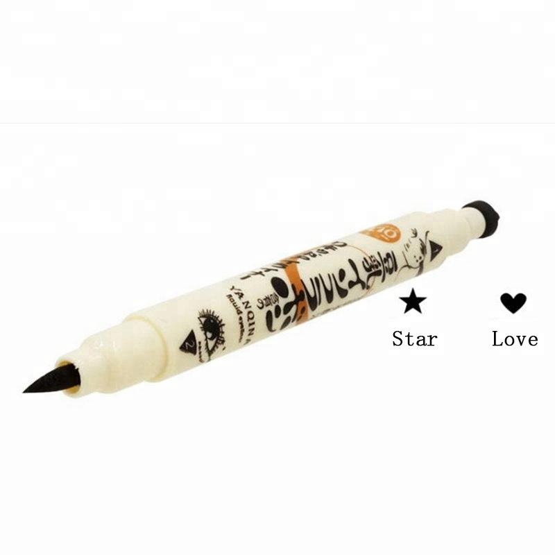 YANQINA Double Head Japanese Eye Liner Beauty Makeup Fashion Black Waterproof Star Heart Stamp Tattoo Liquid Eyeliner