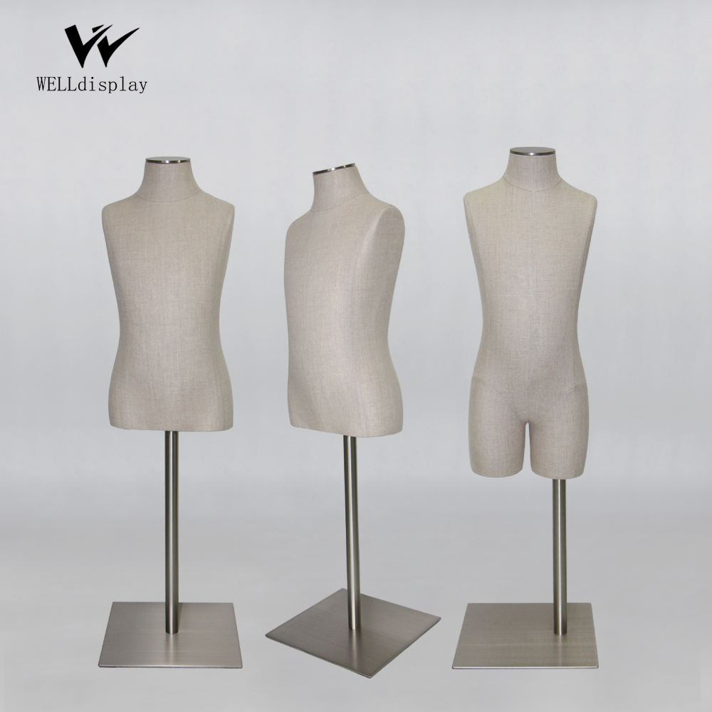 Top quality smaller size hard foam torso child bust dress form baby body mannequins with cloth covers square metal base