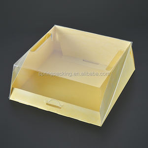custom cake box material can be APET RPET BOPS PS PVC plastic dome lid for patisseries cake packaging