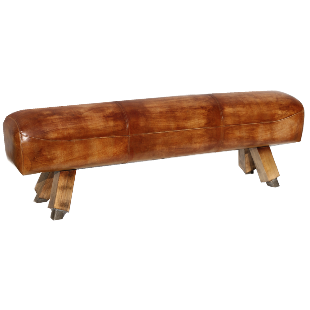 Aged Gym Vintage Leather Pommel Horse Bench