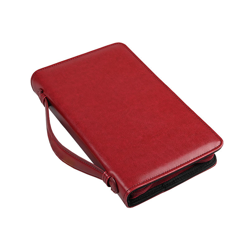 Wholesale Custom Logo Red Leather Bible Book Cover With Zipper And Handle