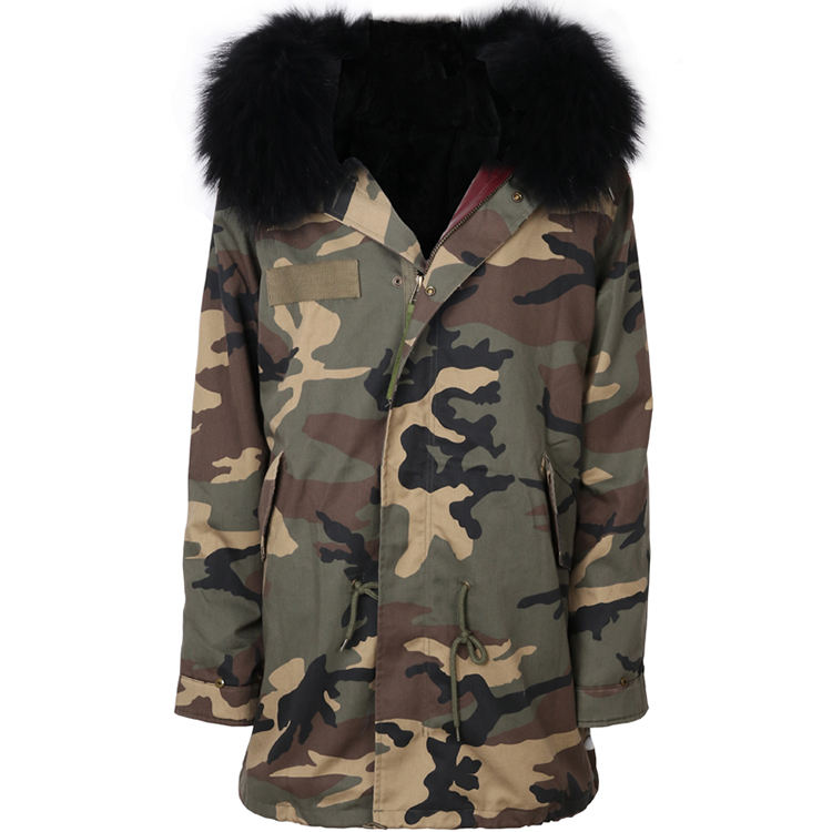 high quality women fur parka ladies rex rabbit fur lined parka with raccoon fur collar detachable