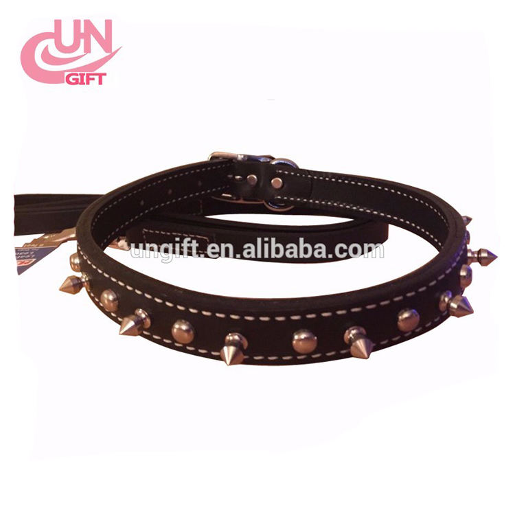 Pet Product For Dog Pet Collar Lead Rubber & Nylon Leather High Quality Black Brown Dog Collar