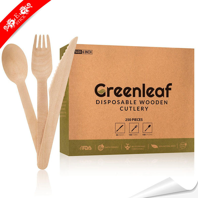 Eco-friendly new design disposable wooden cutlery with customized
